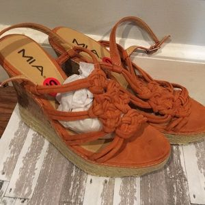 Mia orange, high wedge, espadrille heeled sandal